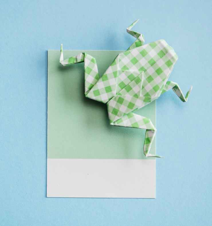 green and white frog origami